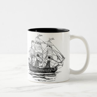 Vintage Pirates Galleon, Sketch of a 74 Gun Ship Two-Tone Coffee Mug
