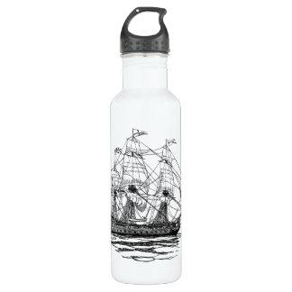 Vintage Pirates Galleon, Sketch of a 74 Gun Ship Water Bottle