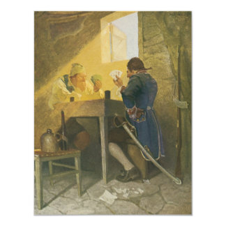Vintage Pirates Gambling in Prison by NC Wyeth 4.25x5.5 Paper Invitation Card