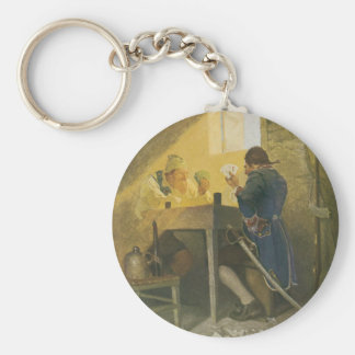 Vintage Pirates Gambling in Prison by NC Wyeth Basic Round Button Keychain