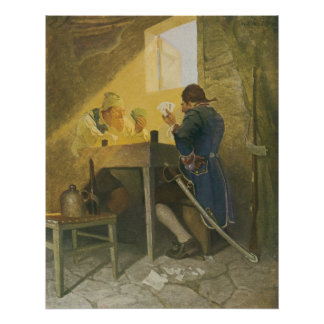 Vintage Pirates Gambling in Prison by NC Wyeth Poster
