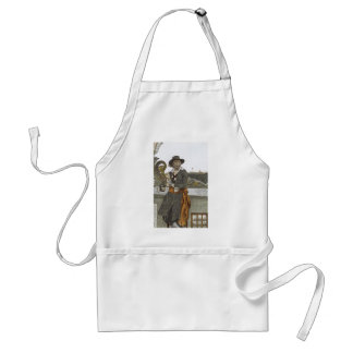 Vintage Pirates, Kidd on Deck of Adventure Galley Adult Apron