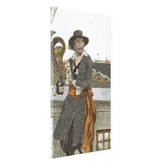 Vintage Pirates, Kidd on Deck of Adventure Galley Canvas Print