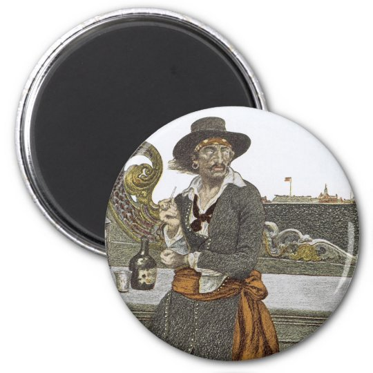Vintage Pirates, Kidd on Deck of Adventure Galley Magnet