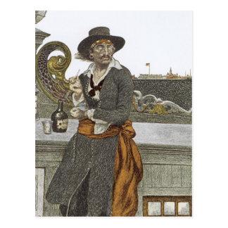 Vintage Pirates, Kidd on Deck of Adventure Galley Postcard