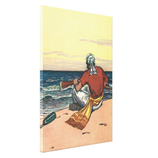 Vintage Pirates, Marooned on a Deserted Island Canvas Print