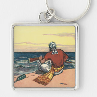 Vintage Pirates, Marooned on a Deserted Island Silver-Colored Square Keychain