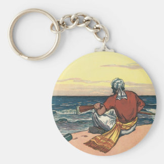 Vintage Pirates, Marooned on a Deserted Island Keychain