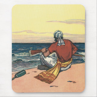 Vintage Pirates, Marooned on a Deserted Island Mouse Pad