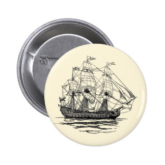 Vintage Pirates, Sketch of a 74 Gun Ship Pinback Buttons
