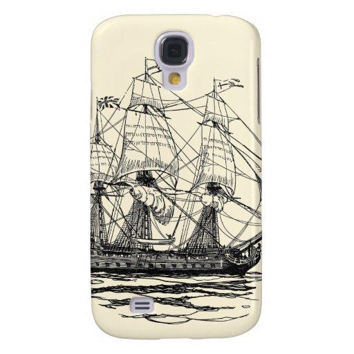 Vintage Pirates, Sketch of a 74 Gun Ship Samsung Galaxy S4 Cases