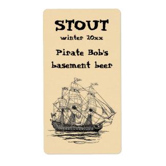 Vintage Pirates, Sketch of a 74 Gun Ship Shipping Labels