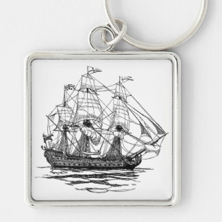 Vintage Pirates, Sketch of a 74 Gun Ship Silver-Colored Square Keychain