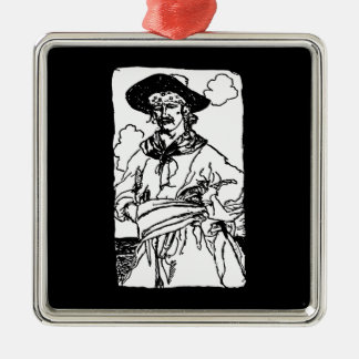Vintage Pirates Sketch of a Captain by Howard Pyle Metal Ornament
