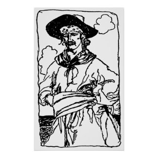 Vintage Pirates Sketch of a Captain by Howard Pyle Poster
