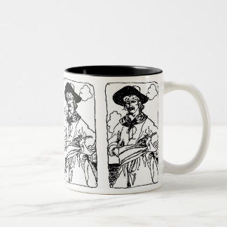 Vintage Pirates Sketch of a Captain by Howard Pyle Two-Tone Coffee Mug