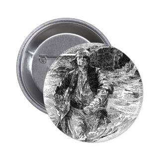Vintage Pirates, Tailpiece, Black and White Sketch Pinback Button