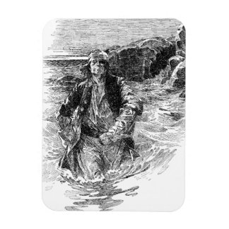 Vintage Pirates; Tailpiece, Black and White Sketch Rectangular Magnets