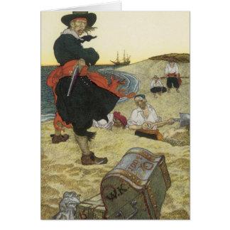 Vintage Pirates, William Kidd Burying Treasure Card