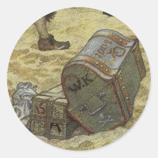 Vintage Pirates, William Kidd Burying Treasure Classic Round Sticker