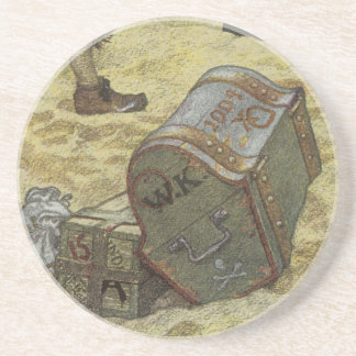 Vintage Pirates, William Kidd Burying Treasure Drink Coaster