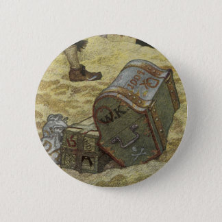 Vintage Pirates, William Kidd Burying Treasure Pinback Button
