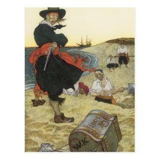 Vintage Pirates, William Kidd Burying Treasure Postcard