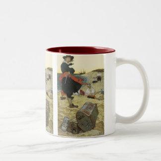 Vintage Pirates, William Kidd Burying Treasure Two-Tone Coffee Mug