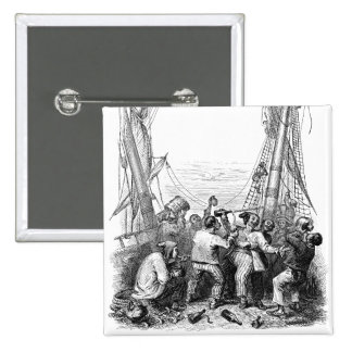 Vintage Pirates with Their Shipwrecked Pirate Boat Pinback Buttons