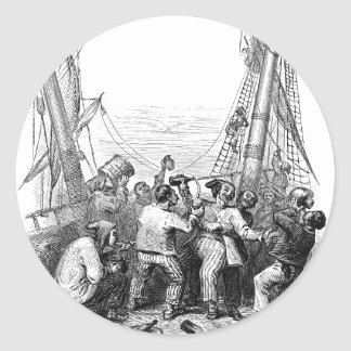 Vintage Pirates with Their Shipwrecked Pirate Boat Classic Round Sticker