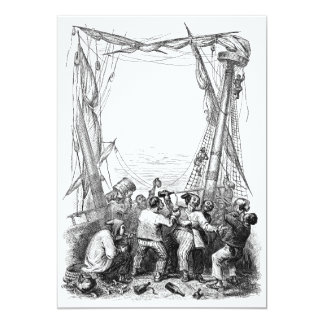 Vintage Pirates with Their Shipwrecked Pirate Boat 5x7 Paper Invitation Card