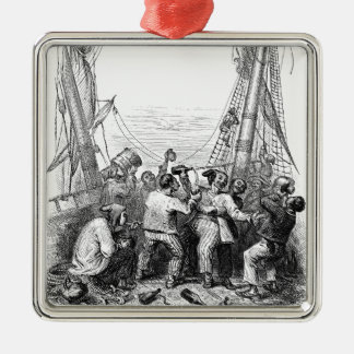 Vintage Pirates with Their Shipwrecked Pirate Boat Square Metal Christmas Ornament