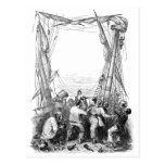 Vintage Pirates with Their Shipwrecked Pirate Ship Post Card