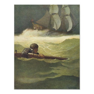 Vintage Pirates, Wreck of the Covenant by NC Wyeth 4.25x5.5 Paper Invitation Card