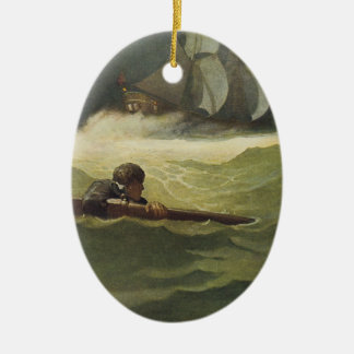 Vintage Pirates, Wreck of the Covenant by NC Wyeth Ceramic Ornament