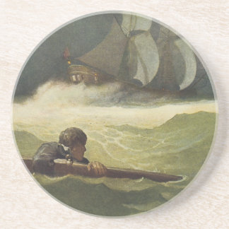 Vintage Pirates, Wreck of the Covenant by NC Wyeth Drink Coaster