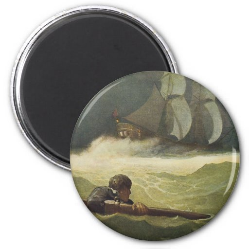 Vintage Pirates, Wreck of the Covenant by NC Wyeth 2 Inch Round Magnet