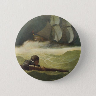 Vintage Pirates, Wreck of the Covenant by NC Wyeth Pinback Button