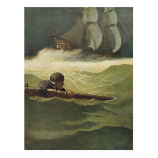 Vintage Pirates, Wreck of the Covenant by NC Wyeth Postcard