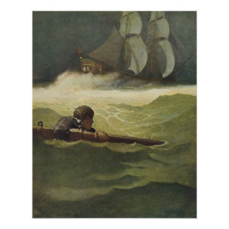 Vintage Pirates Wreck of the Covenant NC Wyeth Poster
