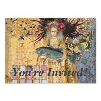 Vintage Pisces Whimsical Renaissance Gothic Fish Card