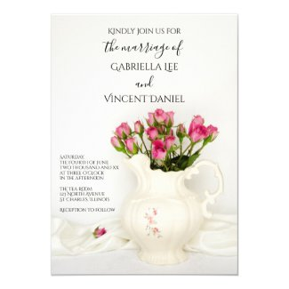Vintage Pitcher with Pink Roses Wedding Invitation