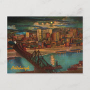 Vintage Pittsburgh By Moonlight Postcard