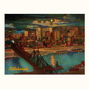 Vintage Pittsburgh By Moonlight Postcard