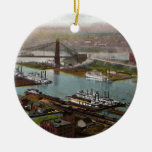 Vintage Pittsburgh Point Park in 1800s Ceramic Ornament