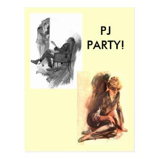 Vintage PJ PARTY! Postcard