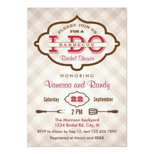 Vintage Plaid I Do BBQ Bridal Shower Invitation