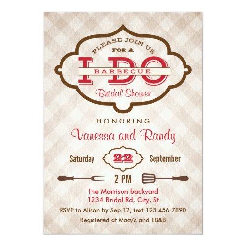 Vintage Plaid I Do BBQ Bridal Shower Invitation