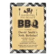 Vintage Plaid Pig Roast BBQ Birthday Party 5x7 Paper Invitation Card at Zazzle