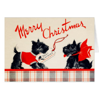 Vintage Plaid Scotty Dogs Merry Christmas Greeting Card